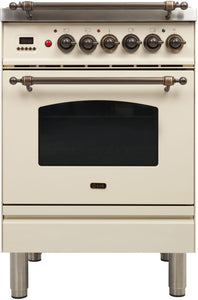 "ILVE 24"" Nostalgie Series Propane Gas Burner and Electric Oven Range in Antique White with Bronze Trim, UPN60DMPAYLP"