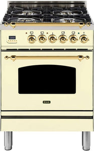 "ILVE 24"" Nostalgie Series Single Oven Natural Gas Burner and Electric Oven Range in Antique White with Brass Trim, UPN60DMPANG"