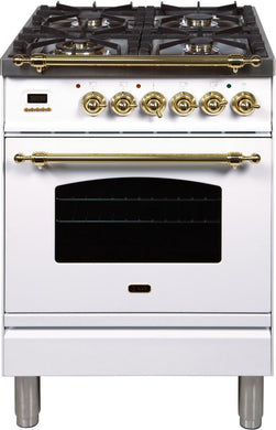 "ILVE 24"" Nostalgie Series Freestanding Single Oven Propane Gas Burner and Electric Oven Range in White with Brass Trim, UPN60DMPBLP"