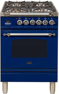 "ILVE 24"" Nostalgie Series Natural Gas Burner and Electric Oven Range in Blue with Chrome Trim, UPN60DMPBLXNG"