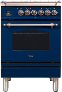 "ILVE 24"" Nostalgie Series Propane Gas Burner and Electric Oven Range in Blue with Bronze Trim, UPN60DMPBLYLP"