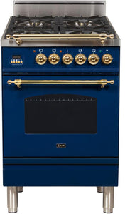 "ILVE 24"" Nostalgie Series Natural Gas Burner and Electric Oven Range in Blue with Brass Trim, UPN60DMPBLNG"
