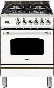 "ILVE 24"" Nostalgie Series Freestanding Single Oven Natural Gas Burner and Electric Oven Range in White with Chrome Trim, UPN60DMPBXNG"