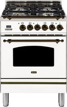 "ILVE 24"" Nostalgie Series Single Oven Propane Gas Burner and Electric Oven Range in Stainless Steel with Bronze Trim, UPN60DMPIYLP"