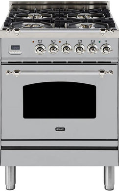 "ILVE 24"" Nostalgie Series Single Oven Natural Gas Burner and Electric Oven Range in Stainless Steel with Chrome Trim, UPN60DMPIXNG"