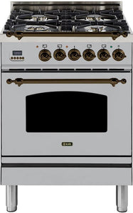 "ILVE 24"" Nostalgie Series Single Oven Natural Gas Burner and Electric Oven Range in Stainless Steel with Bronze Trim, UPN60DMPIYNG"