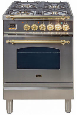 "ILVE 24"" Nostalgie Series Single Oven Natural Gas Burner and Electric Oven Range in Stainless Steel with Brass Trim, UPN60DMPING"