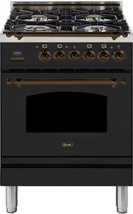 "ILVE 24"" Nostalgie Series Natural Gas Burner and Electric Oven Range in Matte Graphite with Bronze Trim, UPN60DMPMYNG"