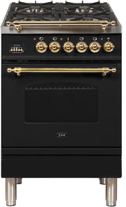 "ILVE 24"" Nostalgie Series Propane Gas Burner and Electric Oven Range in Glossy Black with Brass Trim, UPN60DMPNLP"