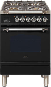 "ILVE 24"" Nostalgie Series Propane Gas Burner and Electric Oven Range in Glossy Black with Chrome Trim, UPN60DMPNXLP"