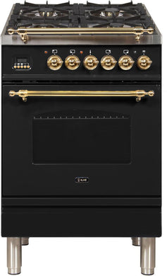 "ILVE 24"" Nostalgie Series Single Oven Natural Gas Burner and Electric Oven Range in Glossy Black with Brass Trim, UPN60DMPNNG"