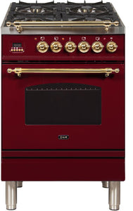 "ILVE 24"" Nostalgie Series Propane Gas Burner and Electric Oven Range in Burgundy with Brass Trim, UPN60DMPRBLP"