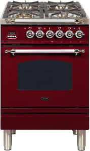 "ILVE 24"" Nostalgie Series Propane Gas Burner and Electric Oven Range in Burgundy with Chrome Trim, UPN60DMPRBXLP"