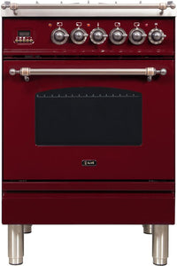 "ILVE 24"" Nostalgie Series Natural Gas Burner and Electric Oven Range in Burgundy with Bronze Trim, UPN60DMPRBYNG"