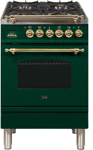 "ILVE 24"" Nostalgie Series Propane Gas Burner and Electric Oven Range in Emerald Green with Brass Trim, UPN60DMPVSLP"