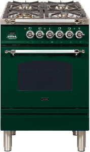 "ILVE 24"" Nostalgie Series Natural Gas Burner and Electric Oven Range in Emerald Green with Chrome Trim, UPN60DMPVSXNG"