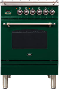"ILVE 24"" Nostalgie Series Natural Gas Burner and Electric Oven Range in Emerald Green with Bronze Trim, UPN60DMPVSYNG"