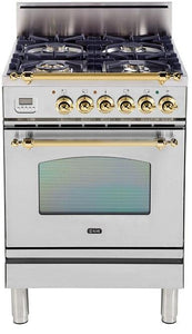 "ILVE 24"" Nostalgie Series Friestanding Single Oven Natural Gas Burner and Oven in Stainless Steel with Brass Trim, UPN60DVGGING"