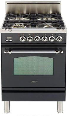 "ILVE 24"" Nostalgie Series Friestanding Single Oven Natural Gas Burner and Oven in Matte Graphite with Chrome Trim, UPN60DVGGMXNG"