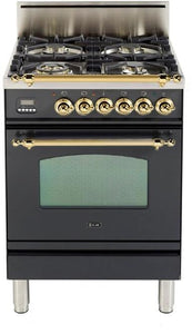 "ILVE 24"" Nostalgie Series Friestanding Single Oven Natural Gas Burner and Oven in Matte Graphite with Brass Trim, UPN60DVGGMNG"