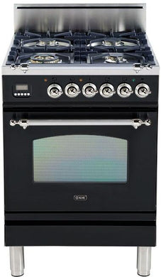 "ILVE 24"" Nostalgie Series Freestanding Single Oven Natural Gas Burner and Oven in Glossy Black with Chrome Trim, UPN60DVGGNXNG"