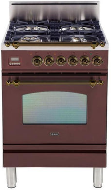 "ILVE 24"" Nostalgie Series Single Oven Propane Gas Burner and Oven in Burgundy with Bronze Trim, UPN60DVGGRBYLP"