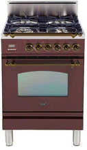 "ILVE 24"" Nostalgie Series Single Oven Natural Gas Burner and Oven in Burgundy with Bronze Trim, UPN60DVGGRBYNG"