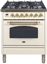 "ILVE 30"" Nostalgie Series Single Oven Natural Gas Burner and Electric Oven Range in Antique White with Brass Trim, UPN76DMPANG"