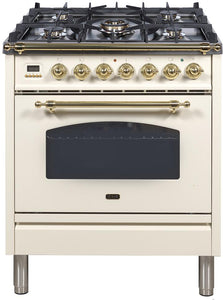 "ILVE 30"" Nostalgie Series Single Oven Natural Gas Burner and Electric Oven Range in Antique White with Brass Trim, UPN76DMPANG test"