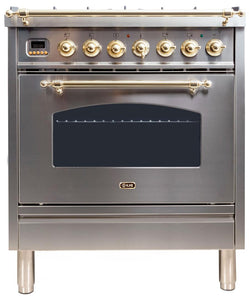 "ILVE 30"" Nostalgie Series Single Oven Natural Gas Burner and Electric Oven Range in Stainless Steel with Brass Trim, UPN76DMPING"