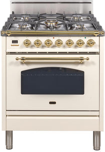 "ILVE 30"" Nostalgie Series Single Oven Natural Gas Burner and Oven in Antique White with Brass Trim Trim, UPN76DVGGANG"