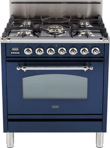 "ILVE 30"" Nostalgie Series Single Oven Natural Gas Burner and Oven in Midnight Blue with Chrome Trim, UPN76DVGGBLXNG"