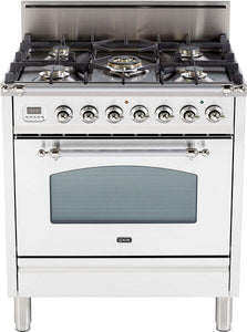 "ILVE 30"" Nostalgie Series Single Oven Natural Gas Burner and Oven in White with Chrome Trim, UPN76DVGGBXNG"