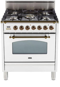 "ILVE 30"" Nostalgie Series Single Oven Natural Gas Burner and Oven in White with Oiled Bronze Trim, UPN76DVGGBYNG"