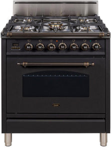 "ILVE 30"" Nostalgie Series Single Oven Natural Gas Burner and Oven in Matte Graphite with Oiled Bronze Trim, UPN76DVGGMYNG"