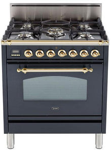 "ILVE 30"" Nostalgie Series Single Oven Natural Gas Burner and Oven in Matte Graphite with Brass Trim, UPN76DVGGMNG"