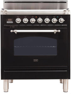 "ILVE 30"" Nostalgie Series Single Oven Natural Gas Burner and Oven in Glossy Black with Chrome Trim, UPN76DVGGNXNG"