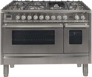 "ILVE 48"" Professional Plus Series Double Oven Natural Gas Burner and Electric Oven Range in Stainless Steel with Chrome Trim, UPW120FDMPING"
