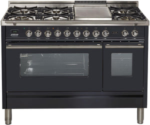 "ILVE 48"" Professional Plus Series Double Oven Propane Gas Burner and Electric Oven Range in Matte Graphite with Chrome Trim, UPW120FDMPMLP"