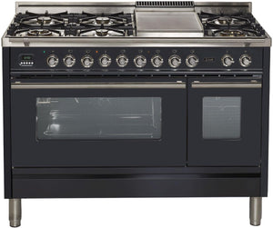 "ILVE 48"" Professional Plus Series Natural Gas Burner and Electric Oven Range in Matte Graphite with Chrome Trim, UPW120FDMPMNG"