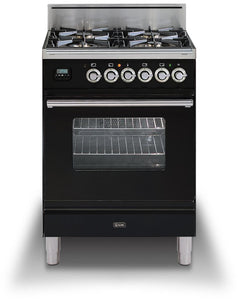 "ILVE 24"" Professional Plus Series Single Oven Natural Gas Burner and Oven in Glossy Black with Chrome Trim, UPW60DVGGNXNG"