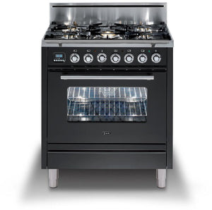 "ILVE 30"" Professional Plus Series Natural Gas Range in Matte Graphite with Brass Trim, UPW76DVGGMNG"