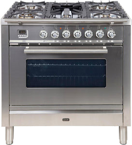 "ILVE 36"" Professional Plus Series Natural Gas Burner and Electric Oven Range in Stainless Steel with Chrome Trim, UPW90FDMPING"