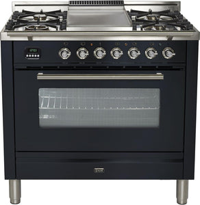 "ILVE 36"" Professional Plus Series Single Oven Natural Gas Burner and Electric Oven Range in Matte Graphite with Chrome Trim, UPW90FDMPMNG"