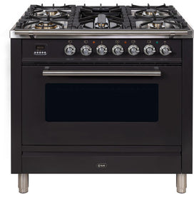 "ILVE 36"" Professional Plus Series Single Oven Natural Gas Burner and Oven in Matte Graphite with Brass Trim, UPW90FDVGGMNG"