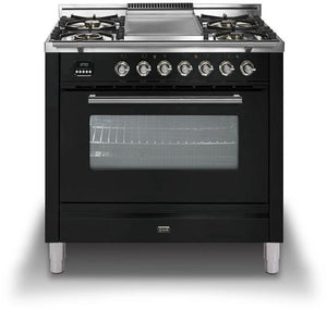 "ILVE 36"" Professional Plus Series Single Oven Natural Gas Range with Brass Trim, UPW90FDVGGNNG"