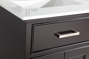 "Vanity Art 24"" Single Sink Vanity in Super White Phoenix Stone & Mirror - Espresso, VA1024E test"