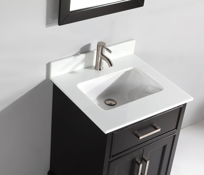 "Vanity Art 24"" Single Sink Vanity in Super White Phoenix Stone & Mirror - Espresso, VA1024E"