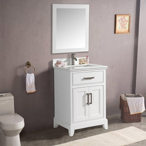 "Vanity Art 30"" Single Sink Vanity in Super White Phoenix Stone & Mirror - White, VA1030W test"