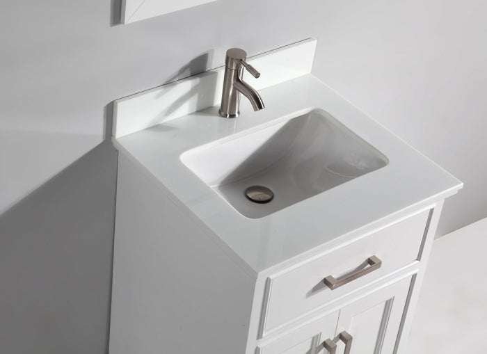 "Vanity Art 30"" Single Sink Vanity in Super White Phoenix Stone & Mirror - White, VA1030W"